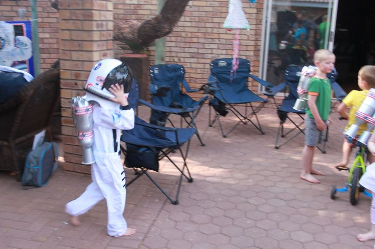 Space/Rocket Ship/Astronaut party favours. My little astronaut and his friends loved the jet packs we made for them. Even the girls enjoyed them.