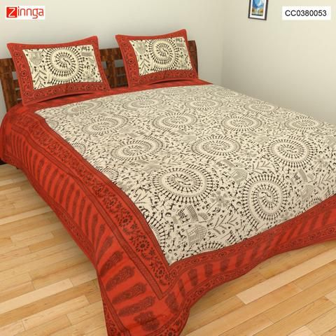 CLICK CORPORATION-Beautiful Multi Color Jaipuri Sanganeri Cotton BedSheet  - CC0380053