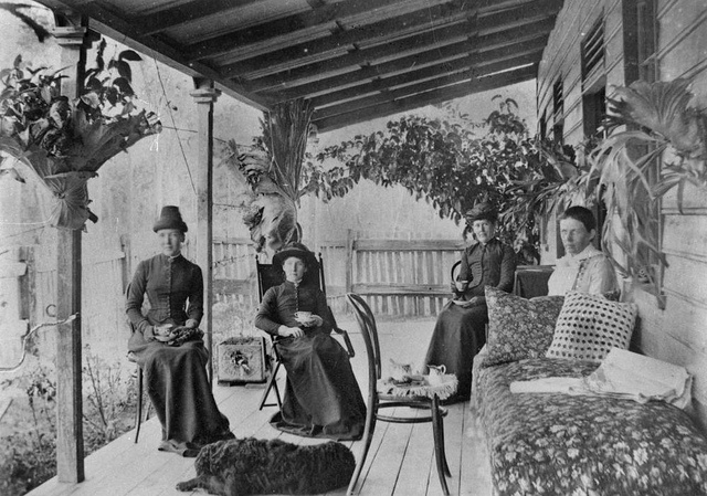 Group of women having a tea party in Queensland. 1887. State Library of Queensland, Australia.