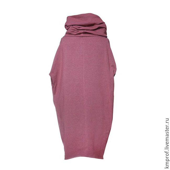 """Купить Платье """"Сocoon"""" - сиреневый, однотонный, платье кокон, платье с воротником труба, дизайнерские платья"""