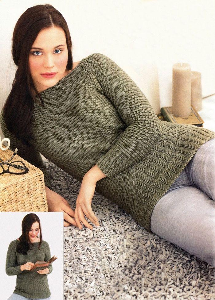 Главное – комфорт! Пуловер-реглан оливкового цвета, связанный простой гладью и резинкой. Вязание спицами