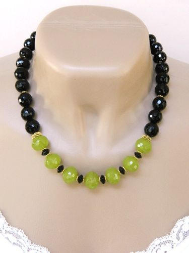 Handmade Lime Green Quartz and Onyx Beaded Necklace