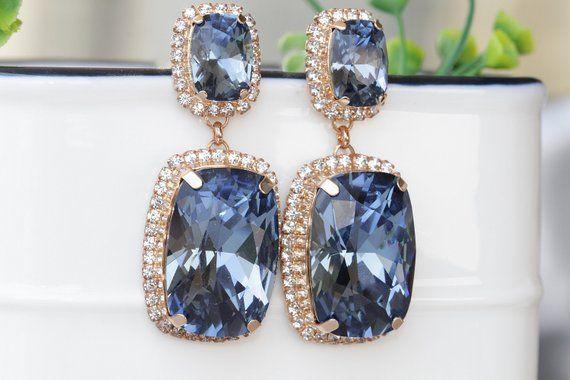 2094017a7 NAVY BLUE EARRINGS, Big Crystal Earrings, Mother Of Bride, Swarovski  Earrings, Rose Gold Earrings, Statement Earrings, Big Occasion Earrings