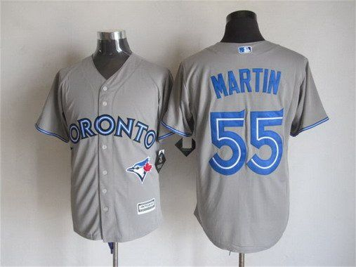 mens toronto blue jays 55 russell martin away gray 2015 mlb cool base jersey