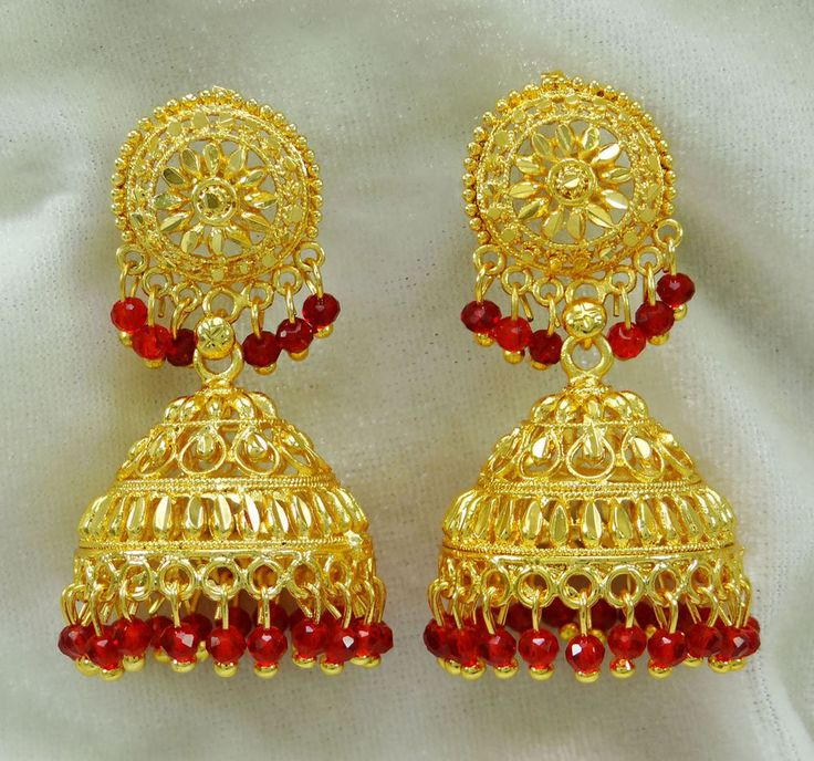 Made from alloy these Jhumka are light in weight and durable. The 18 karat gold plating further makes sure that these Jhumka retain their shine for years to come. Do not rub. ---------------------------------------All gold-plated jewelry is made from high quality 18 Ct gold over brass/ copper/ alloy.   eBay!