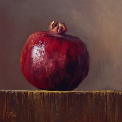 images of pomegranate painting | Pomegranate in Early Morning Light