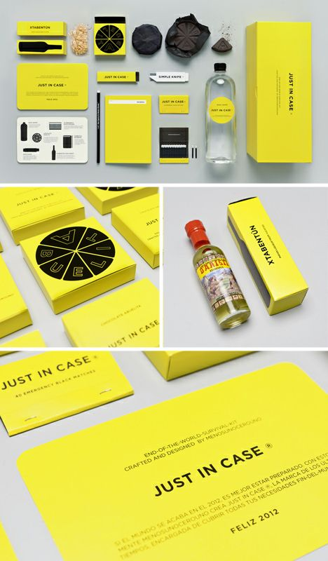 """Mexican branding firm Menosunocerouno adds some essentials to the generic survival kit: chocolate (a week's worth) and Mayan liqueur. There are some core materials as well: a liter of water to stay hydrated, a pack of matches, survival knife and waterproof notebook austere black-and-yellow box with instructional tips just in case you get flustered during the """"end of days."""""""