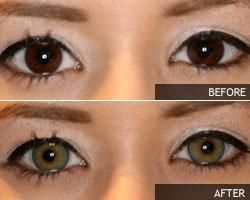 Green Contacts on Brown Eyes
