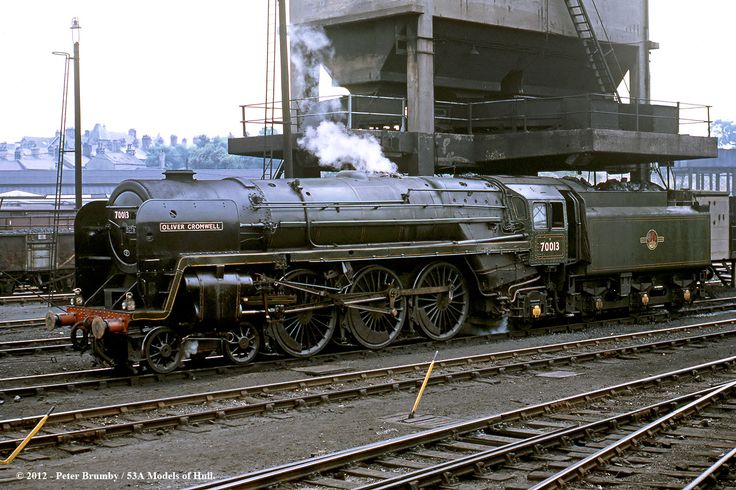Britannia class 7P 4-6-2 70013 Oliver Cromwell is serviced at its home depot of Carnforth whilst operating 1Z44 RCTS West Riding Branch Dalesman No 2 Rail Tour - 16-06-1968.