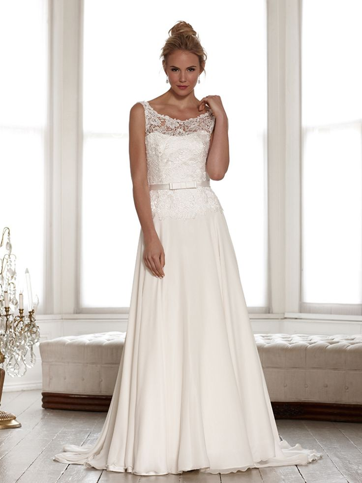 Si Holford Wedding Dress 2017 Bridal Signature Collection Lace Strap Sheer Neckline Top With Belt A Line Low V Cut Back Style Isla