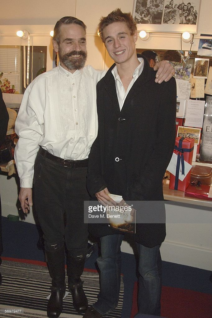 Jeremy Irons, and Samuel Irons attend the backstage party for the premiere and press night for new stage production 'Embers' at the Duke Of York's Theatre on March 1, 2006 in London, England.