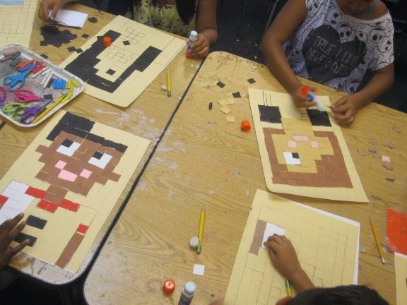 Minecraft connection? Math connection--- grid/fractions portraits with 1x1 inch squares. Using a ruler!