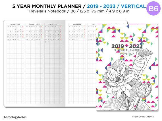 5 Year Planner 2020 2024 B6 Traveler S Notebook Vertical Grid
