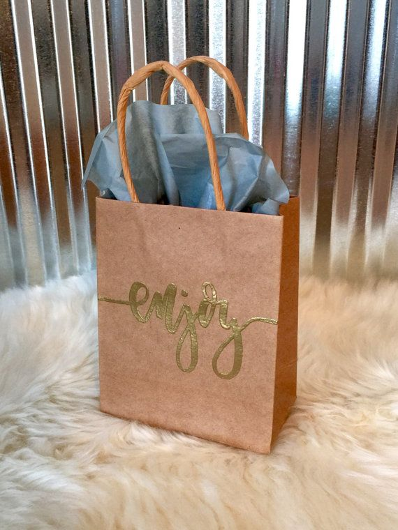 Enjoy Gift Bag  4 1/2 X 5 1/2 Paper Kraft Bag  by LetterEatCake