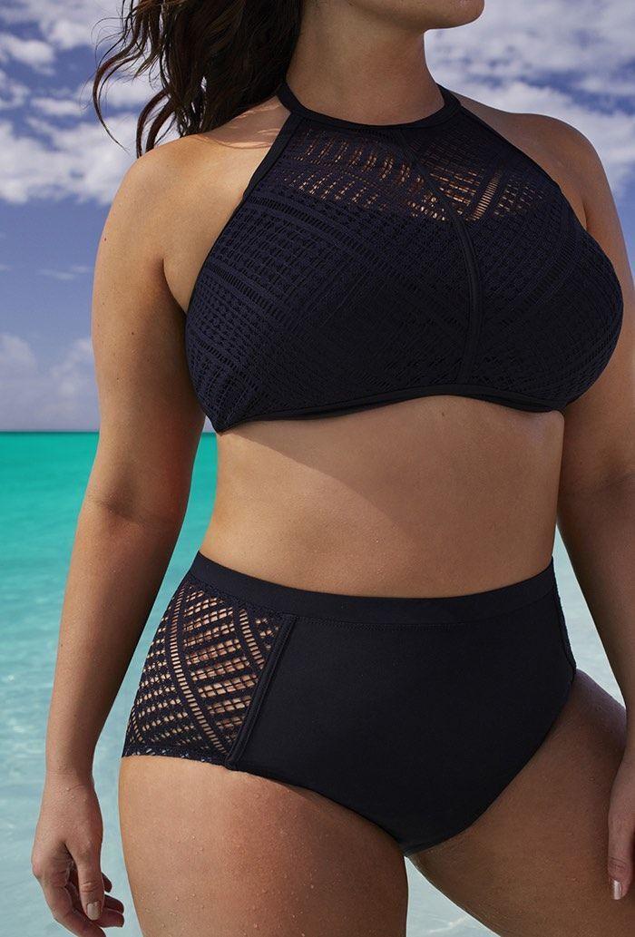 471c9504879 Plus Size Women Sexy High Waist Lace Bikinis Black Solid Swimwear Hollow  out Swimsuit Bathing Suit Brazilian Swimsuit in 2019 | Sexy Plus Size  Dresses ...