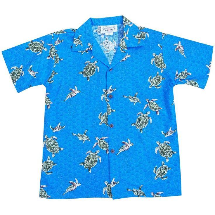 turtle swim blue boy hawaiian shirt