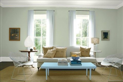 Look at the paint color combination I created with Benjamin Moore. Via @benjamin_moore. Wall: Aganthus Green 472; Trim: Intense White OC-51; Table: Marlboro Blue HC-153; Ceiling: Intense White OC-51.