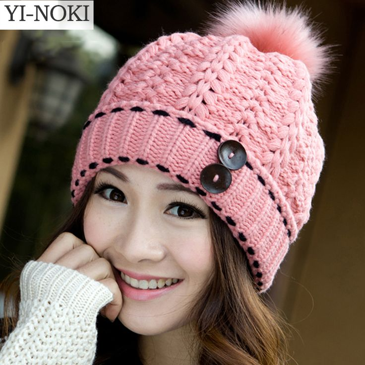 YI-NOKI Winter Hat Women Fall 2015 Fashion Snapback Caps Hairball Hats Warm Ear Protection Wool Hat Swag Cap Beanie Skullies