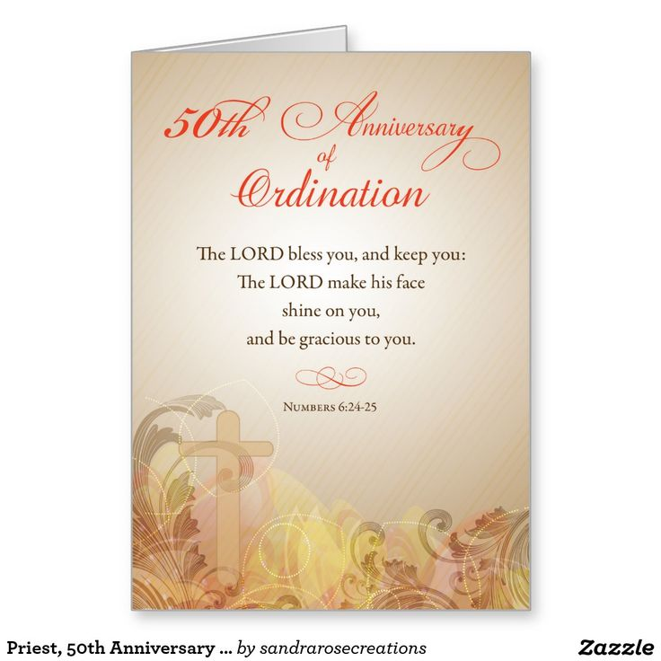 Priest 50th Anniversary Of Ordination Blessing Card