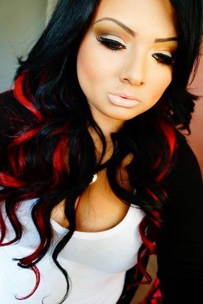 Black Hair With Red Streaks Hair Makeup Hair Styles