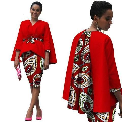 Africa Style Two Piece Suit Tops Jacket and Print Set