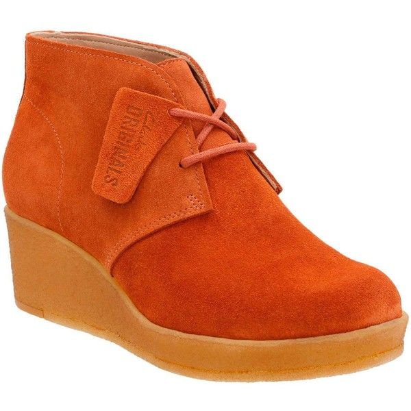Clarks Women's Athie Terra Rust Vintage Suede Boots ($150) ❤ liked on Polyvore featuring shoes, boots, orange, suede wedge boots, ankle boots, suede boots, wedge heel boots and suede ankle boots