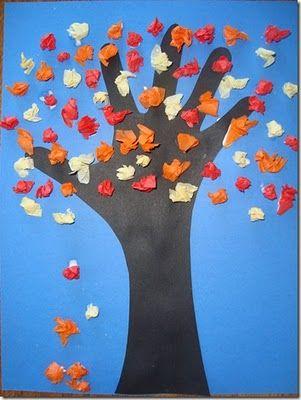 Tissue paper fall tree... think i like this better than the fingerprint tree.