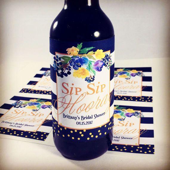 Sip Sip Hooray, Wedding Wine Labels, Sip Sip Hooray Favors, Bachelorette Favors, Bridal Shower, Wine Favors, Thank you Labels,  Set of 6