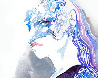 Mode aquarel Print Fashion illustratie door silverridgestudio