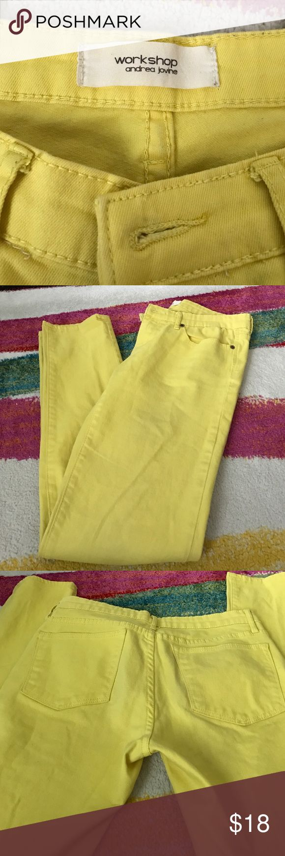 Workshop Andrea jovine yellow skinny jeans size 8 Cotton spandex stretchy sunny yellow jeans workshop  Pants Skinny