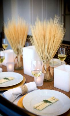 Wheat opposed to flowers... Cost efficient and beautiful #wedding #decorTables Sets, Dinner Parties, Wedding Receptions Tables, Fall Tables, Centerpieces, Tables Decor, Center Piece, Thanksgiving Tables, Fall Wedding
