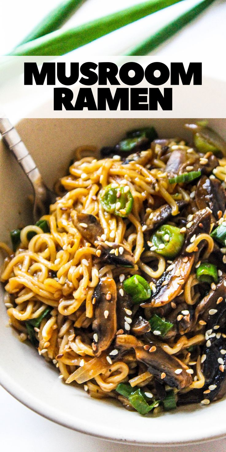 The quickest Mushroom Ramen (or Maggi) Noodles recipe that is so delicious, perfectly tossed in a simple Asian style sau…