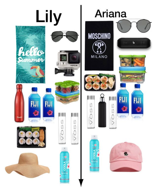 """Lily and Ariana beach tote"" by biermann ❤ liked on Polyvore featuring Outdoor Oasis, Ray-Ban, Yves Saint Laurent, Rubbermaid, COOLA Suncare, Moschino, Old Navy, Beats by Dr. Dre, GoPro and blomus"