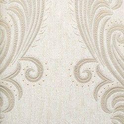 Diseño con formas de tipo barroco, en color blanco y crema en este papel pintado de la colección Karat de Parati.