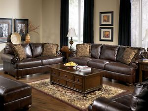 brown leather living room walls | Traditional genuine brown leather large sofa couch set living room ...