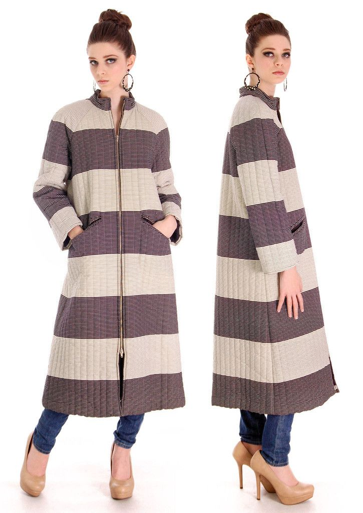 Vintage 1970s  Vuokko Suomi Finland Striped Cotton Coat  Zip Front Mod 38 Fits S to M