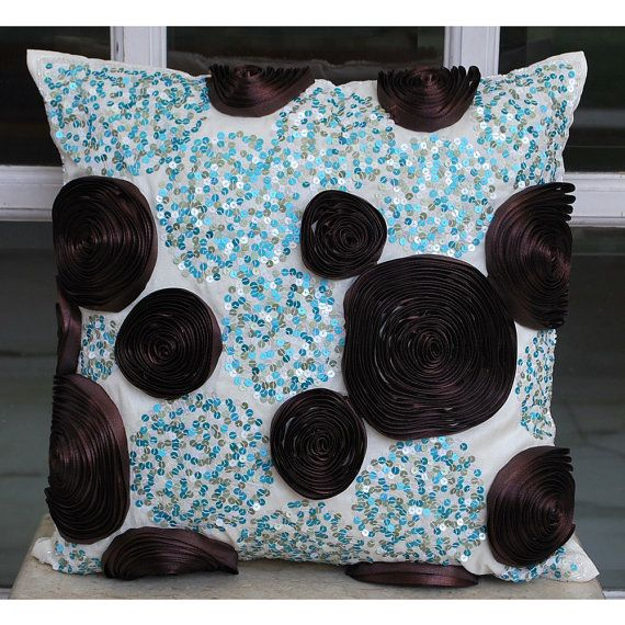 Blue Pillow Covers 16x16 Silk Pillows Covers For by TheHomeCentric
