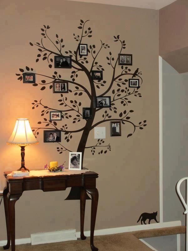 albero genealogico dipinto su parete con fotografie famiglia