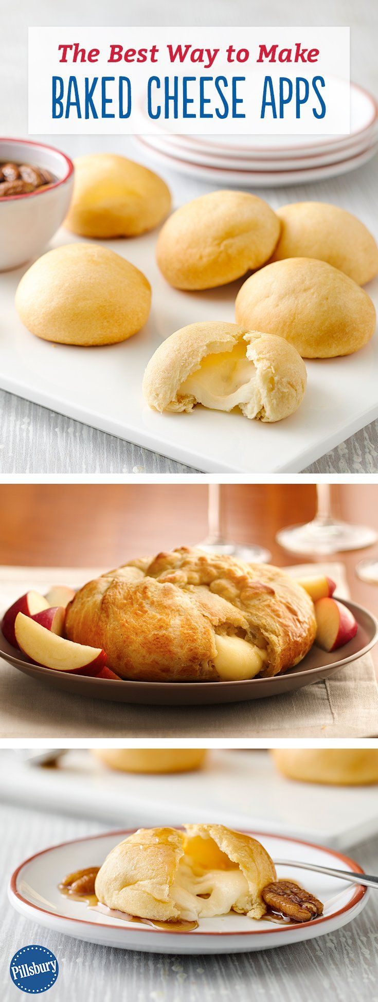 Everyone's favorite appetizer: gooey, melty Baked Cheese! Sweet dreams are made of cheese: Put your own (surprisingly easy!) spin on tradition with new ways to serve party classic baked Brie. Great for the Christmas holiday when you have family and friends over.