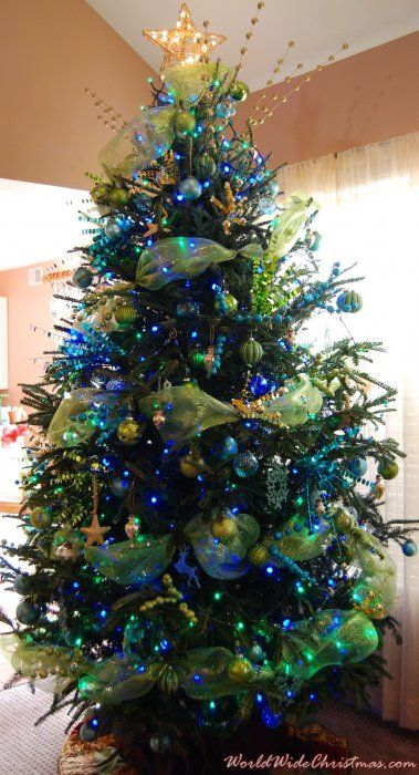 2011 Ocean Hues of Blue & green with Gold seashore ornaments   # Pinterest++ for iPad #