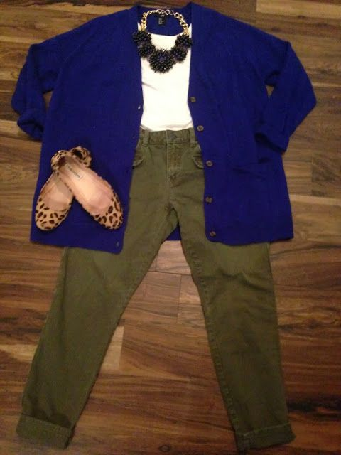 H&M cobalt blue boyfriend cardigan, Gap olive skinny jeans, Steve Madden leopard ballet flats, Banana Republic statement necklace