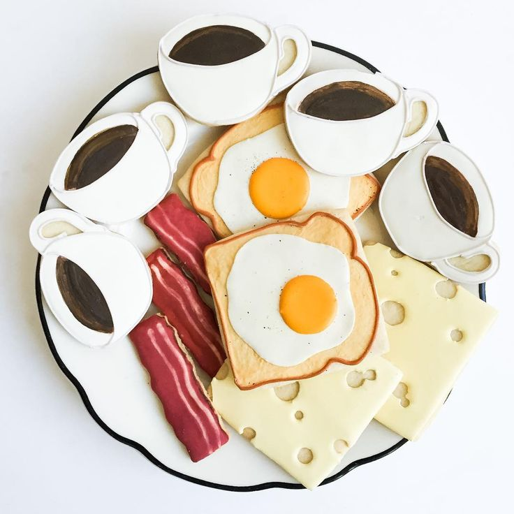 """Coffee cup, bacon, egg toast, cheese slice breakfast cookies BakeIdeas """"Sunday at the diner."""""""