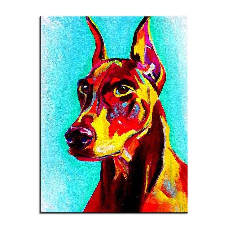 Doberman Multi Color Canvas Picture