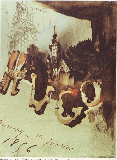 Carte de visite, 1856, plume et lavis d'encre brune, aquarelle, gouache. Victor Hugo