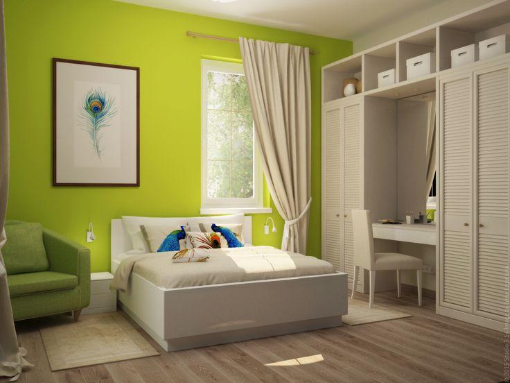Насыщенный цвет стен смягчается молочным оттенком мебели и текстиля.