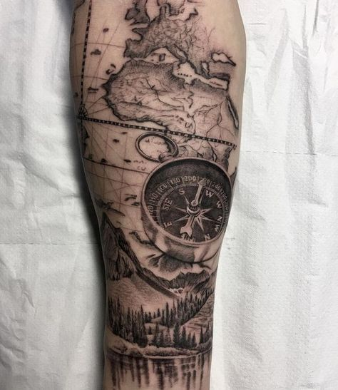 Compass Tattoo Mountains