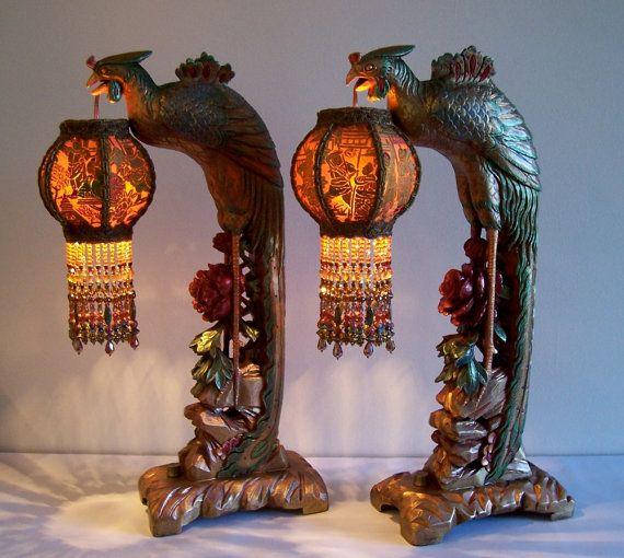 Pair Phoenix Bird Table Lamps Beaded Lanterns Antique Vintage