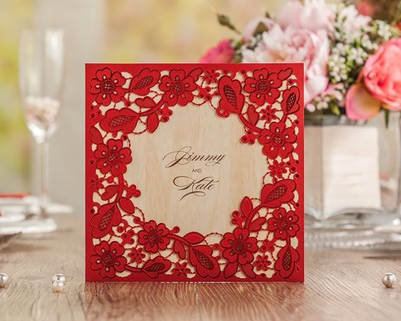25 x Red Lace and Wood Wedding Invitation. Laser by PaperBoundLove