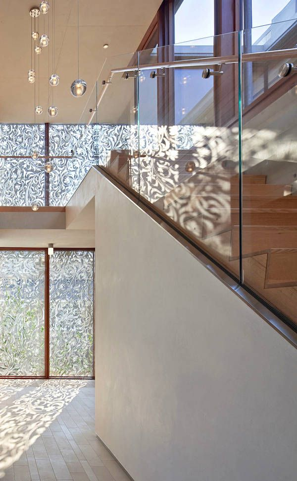 How fun is that #shadow casted from this beautiful #contemporary #screen? Perfect for a #staircase or #entry space! #Staircase #Design #Decor