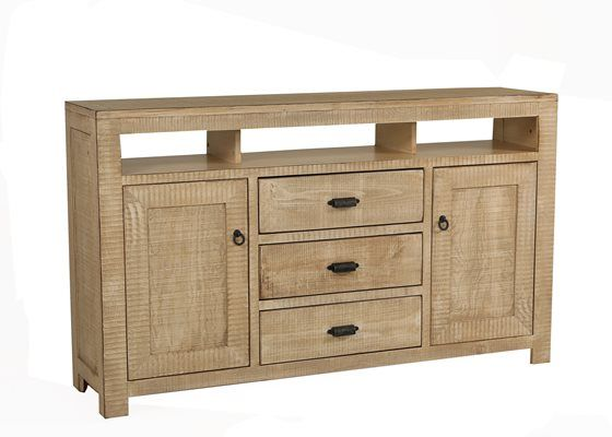 Media console with three component niches under the top, twin door storage with an adjustable shelf in each, and three storage drawers in the center in a multi-step distressed write finish and trimmed with antique copper drawer pulls. Also available in a blue finish.